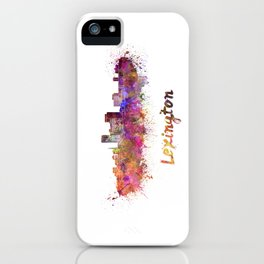 Lexington skyline in watercolor iPhone Case