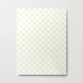 Small Checkered - White and Beige Metal Print
