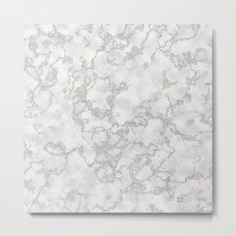 Metallic Silver & White Marble Texture Metal Print