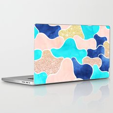 Color block faux gold turquoise pink watercolor Laptop & iPad Skin
