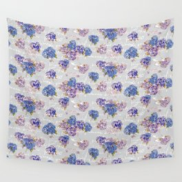 Hydrangeas and French Script with birds on gray background Wall Tapestry