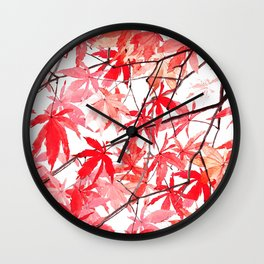 red orange maple leaves watercolor painting 2 Wall Clock
