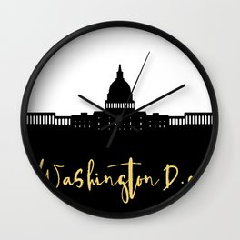 WASHINGTON DC DESIGNER SILHOUETTE SKYLINE ART Wall Clock
