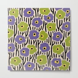 Mid Century Modern Wild Flowers Pattern Purple and Green Metal Print