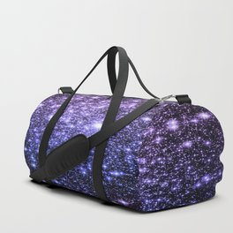 Galaxy Sparkle Stars Purple Periwinkle Blue Duffle Bag