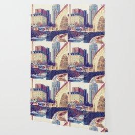 Minneapolis, Minnesota Skyline Stone Arch Bridge Wallpaper
