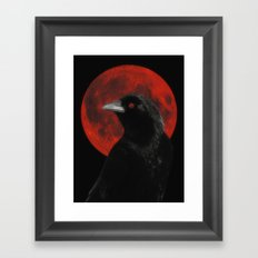 Crow And The Red Glow Moon Framed Art Print