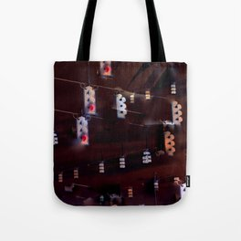 Dark Inverted Traffic Light Scene Tote Bag