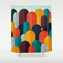 079 - Owly visits the poplar forest in autumn II Shower Curtain