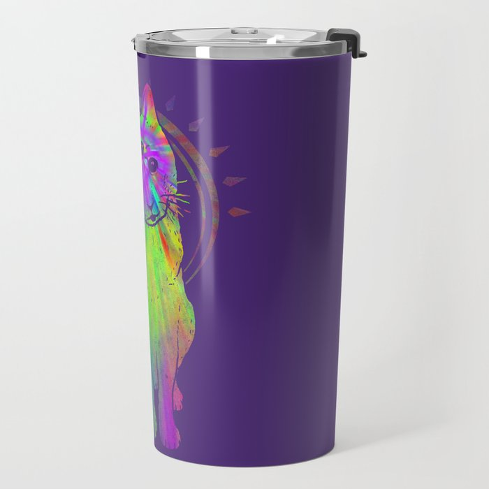 Psychedelic Psychic Cat Travel Mug