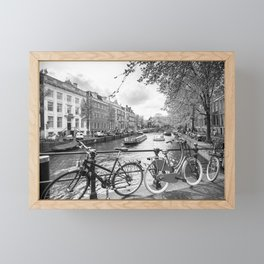 Bicycles parked on bridge over Amsterdam canal Framed Mini Art Print