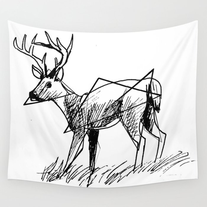 Modern deer Wall Tapestry