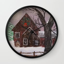 Winter Night on the Farm Wall Clock
