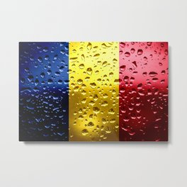 Flag of Romania - Raindrops Metal Print