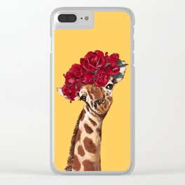 Giraffe with Rose Flower Crown in Yellow Clear iPhone Case