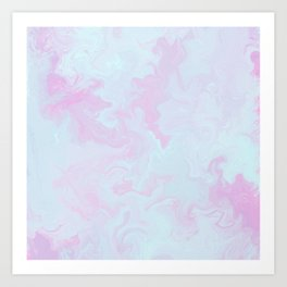 Elegant pink teal watercolor abstract marble Art Print