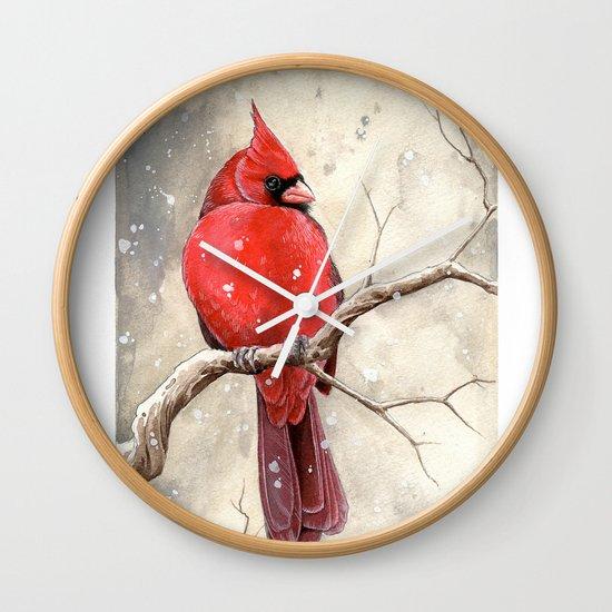 Northern Cardinal Wall Clock