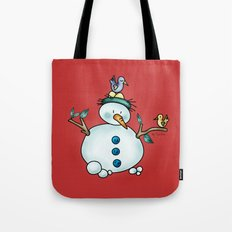 Snowman {Friendly - red} Tote Bag