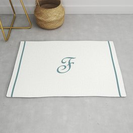 Monogram Letter F in Sea Spray and White Rug