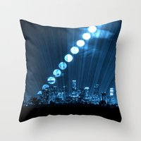 moonrise Throw Pillows featuring moonrise  by yahtz designs