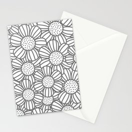 Field of daisies - gray Stationery Cards