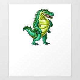 Crocodile Wife Alligator Reptile Animal Art Print