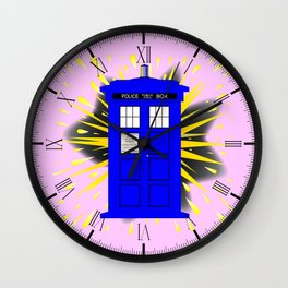 British Police Box With Abstract Explosion Wall Clock