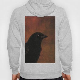 Crow Portrait In Black And Orange Hoody