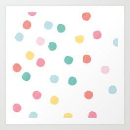 Watercolour spots in multicolour Art Print