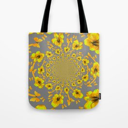 CHARCOAL GREY YELLOW AMARYLLIS BUTTERFLY ART Tote Bag