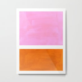 Pastel Neon Pink Yellow Ochre Mid Century Modern Abstract Minimalist Rothko Color Field Squares Metal Print