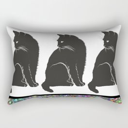 Three Black Cats Rectangular Pillow