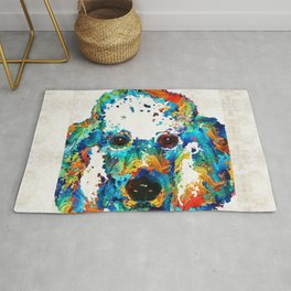 Colorful Poodle Dog Art by Sharon Cummings Rug