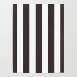 Black coffee - solid color - white vertical lines pattern Poster