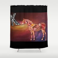 meat Shower Curtains featuring Horse Meat by acevpark