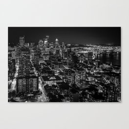 Seattle from the Space Needle in Black and White Canvas Print