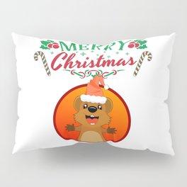Merry Christmas Happy Quokka with Hat Kangaroo Pillow Sham
