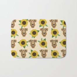 Airedale Terrier Sunflower floral print cute dogs and flowers design Bath Mat