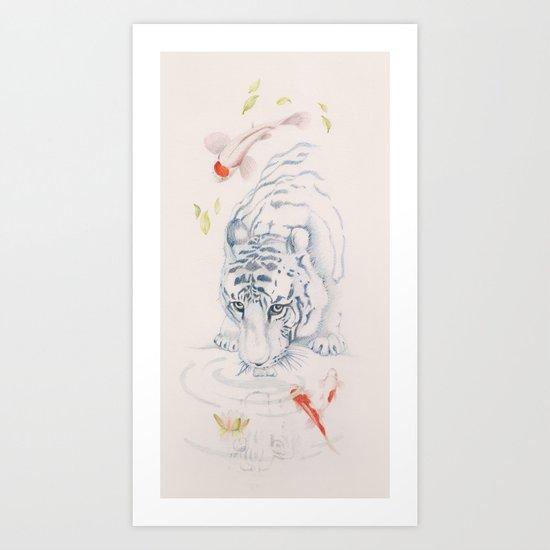 The Tiger and the Koi fish pond  Art Print