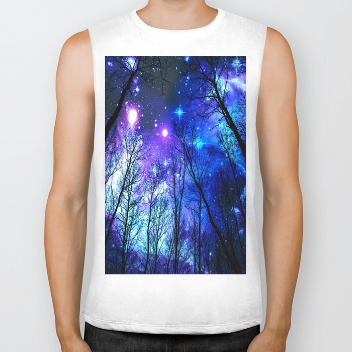 black trees purple blue space Biker Tank