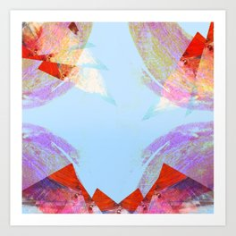 Triangles in red Art Print