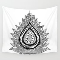 lotus Wall Tapestries featuring Lotus by Keziah
