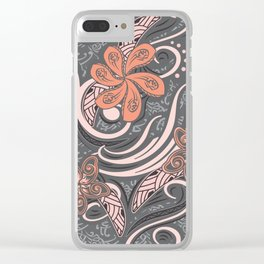 Polynesian Pink Tribal Print Clear iPhone Case