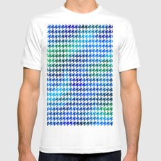 Houndstooth bright blue watercolor White Mens Fitted Tee MEDIUM