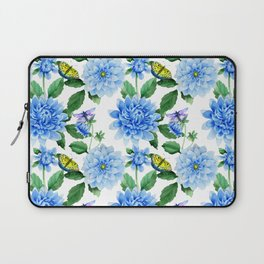 Hand painted blush blue pink yellow watercolor floral butterfly Laptop Sleeve