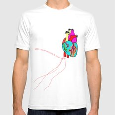 corazón de colores White Mens Fitted Tee MEDIUM
