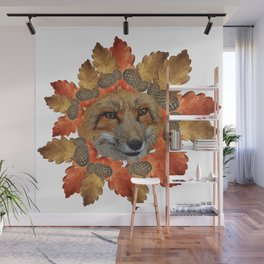Fox face with oak leaves, natural Wall Mural