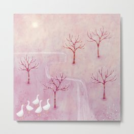 Geese in the Orchard Metal Print