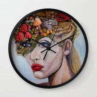 alice in wonderland Wall Clocks featuring Wonderland by HeatherIRELANDArtz