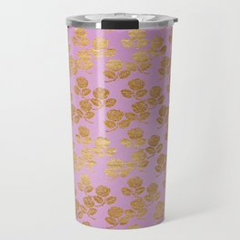 Pink and Faux Gold Foil Roses Travel Mug